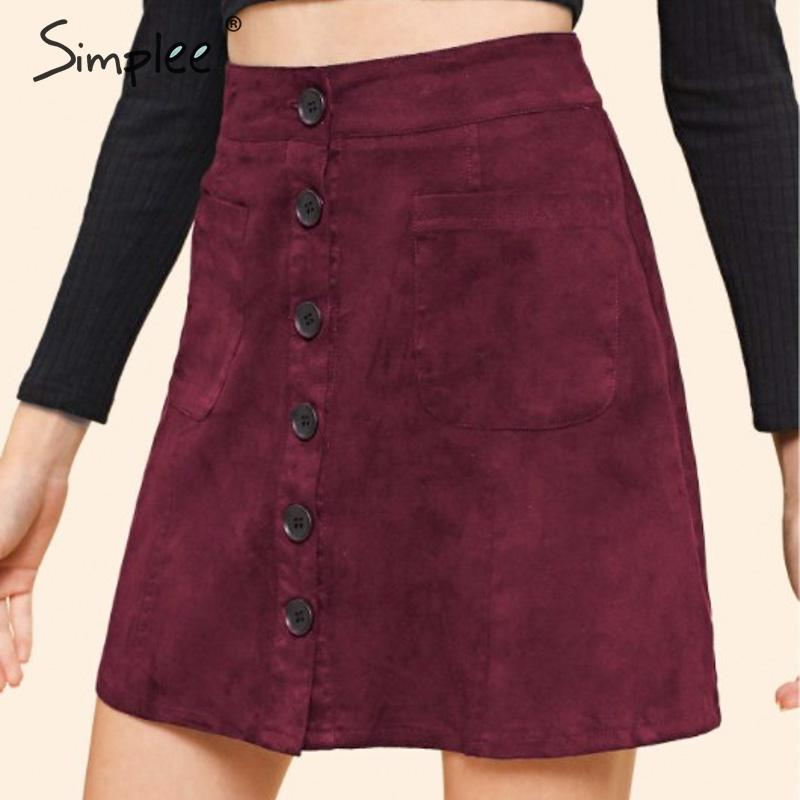 Simplee A-line Suede Leather Women Short Skirt Elegant High Waist Single Breasted Solid Slim Female Skirt Autumn Ladies Skirt