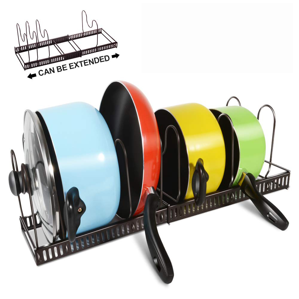Expandable Pan Organizer Rack 7 Tires Adjustable Cookware Rack For Kitchen Organization And Storage