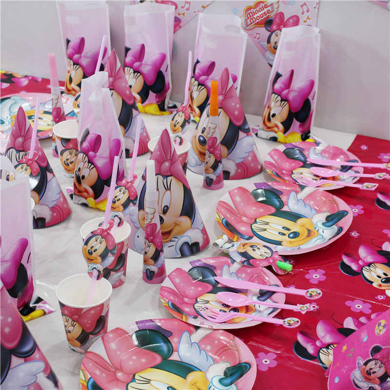 Mickey Theme PARTY Minnie Mouse สีชมพู Baby Shower กระดาษทิ้งผ้ากันเปื้อนถาดวันเกิดตกแต่งของเล่นเด็ก