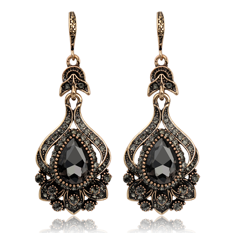 Wbmqda Luxury Gray Crystal Bridal Earrings For Women Antique Gold Color Beach Party Drop Earrings 2019 New Vintage Jewelry