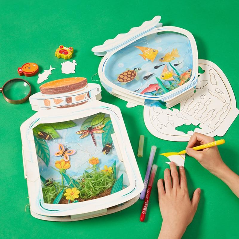 Crianças diy o mundo na garrafa artesanal artesanato brinquedos pacote de materiais artesanais desenho brinquedos educativos crianças presente diy brinquedos