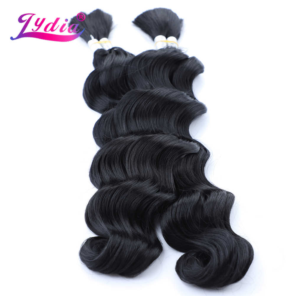 """Lidia No trenza suelta Deep Premium Deep Wave Bundles 18 """"-24"""" 2 unids/pack a granel Crochet sintético extensión de cabello trenzado Rubio"""