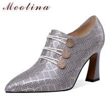 Купить с кэшбэком Meotina Sheepskin High Heels Women Shoes Natural Genuine Leather Super High Heel Shoes Mixed Colors Pointed Toe Pumps Lady 34-39