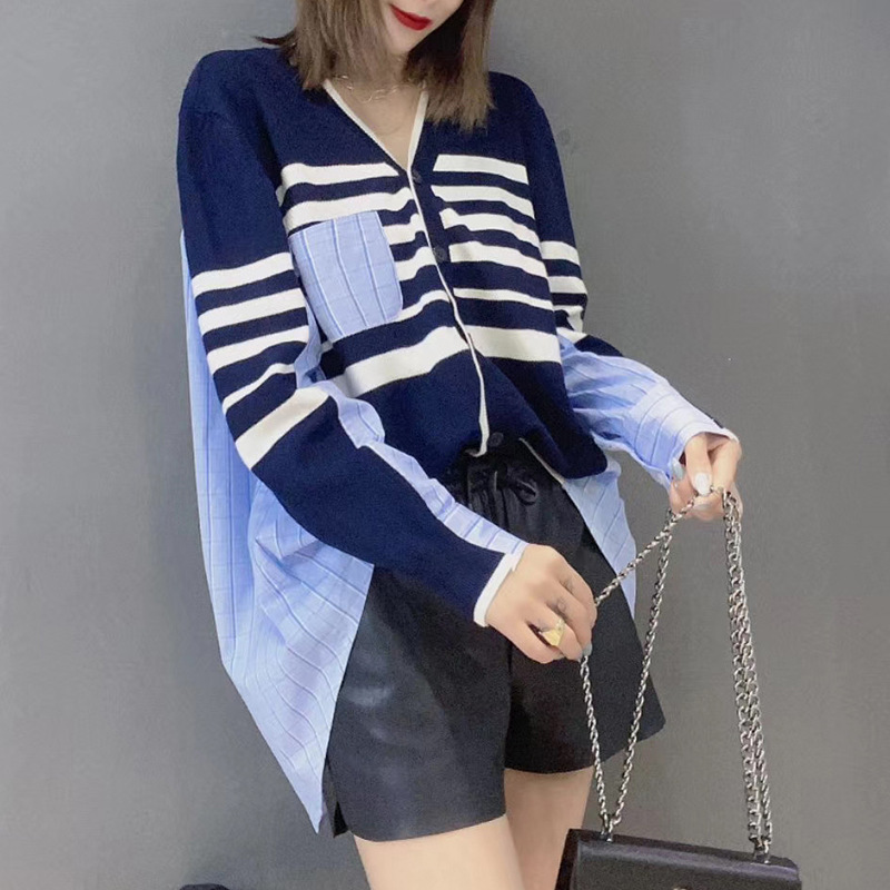 2020 Autumn ladies loose stripe shirt batwing sleeves asymmetrical casual blouse V neck knitted tops female garments plus size