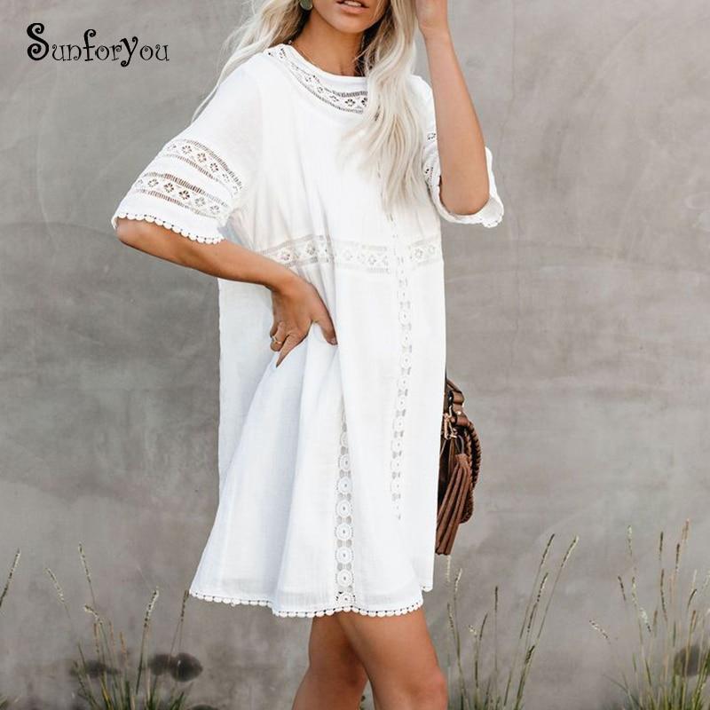 Sarong Cover-ups White Beach Paroes Mini Dress Lace Bikini Cover Up Summer Women Beachwear Sexy  Swimsuit Cover Up Tunic