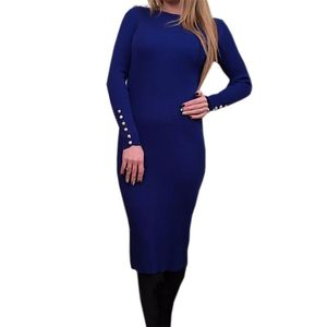 Image 3 - Fashion Women Sexy Bodycon Dress Autumn Winter Knitted Midi Dress Robe Solid Package Hip Long Sleeve Dresses Ribbed Party GV420