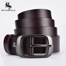 JIFANPAUL Genuine leather ladies fashion retro punk belt alloy pin buckle high quality ladies business casual trend jeans belt cheap Adult Metal Cowskin WOMEN 2 8cm Solid 6 8cm Belts 3 5cm