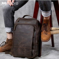 NEW Men's Leather Computer Bag Back Pack Mochilas Hombre Vintage Mad Horse Leather Bag Head Leather Anti Theft Luxury Backpack