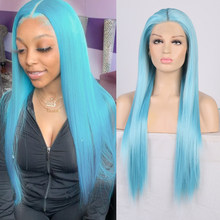 Charisma Long Silky Straight Hair Blue Wigs Middle Part Synthetic Lace Front Wig Heat Resistant Wigs for Women Cosplay Wig(China)
