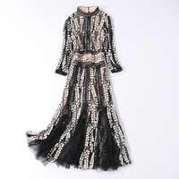 Otoño 2019 nuevo vestido de malla de cuello redondo manga de siete puntos costura Otoño e Invierno para mujer
