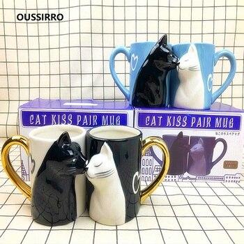 OUSSIRRO 2 unids/set beso gato Taza de cerámica beso taza boda de Día de San Valentín, regalo de cumpleaños