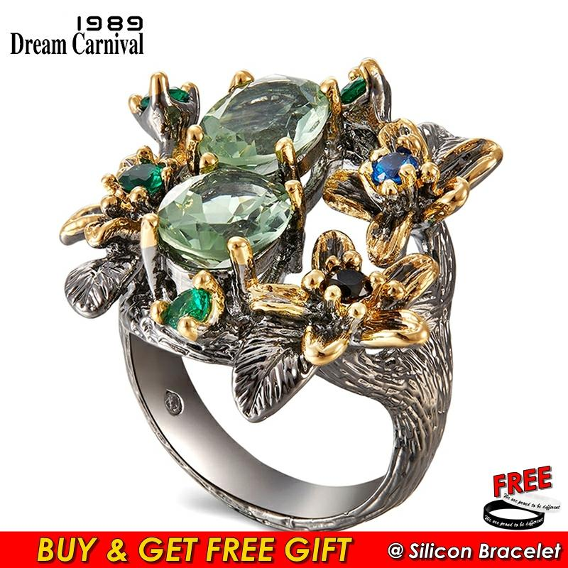 DreamCarnival 1989 Stunning CZ Rings for Women Engagement Party Vintage Flower Ring Eye Catching Olivine Zircon Jewelry WA11688 1