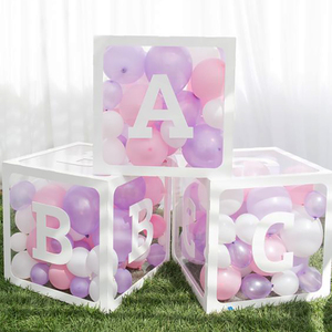 A-Z letter Box balloons gift box Baby Shower Party Supplies Christening 1st 2st First Birthday Party Decoration Babyshower