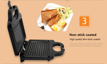Stripe-shaped Home Sandwich Maker Stainless Steel Toaster Overnight Grill Breakfast Machine SZJ-227B sokany stainless steel home office sandwich maker machine toaster with removable non stick plate electric grill 750w eu plug