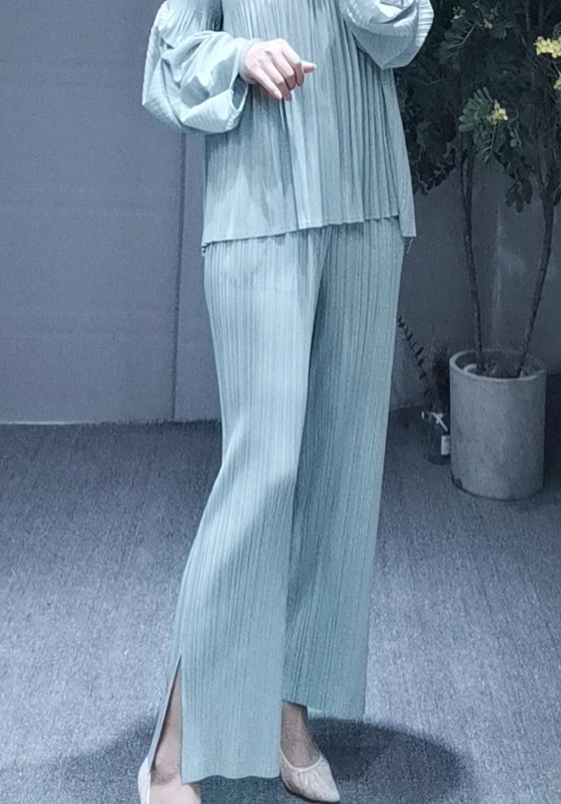 MIYAKE dobrar PP série de tamanho grande das mulheres desgaste fino reta calças dividir cores nove cor calças calça casual livre grátis - 4