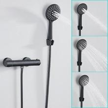 Avrupa siyah duş bataryası seti banyo bakır oda termostatik musluklar duş başlığı kafa küvet mikseri