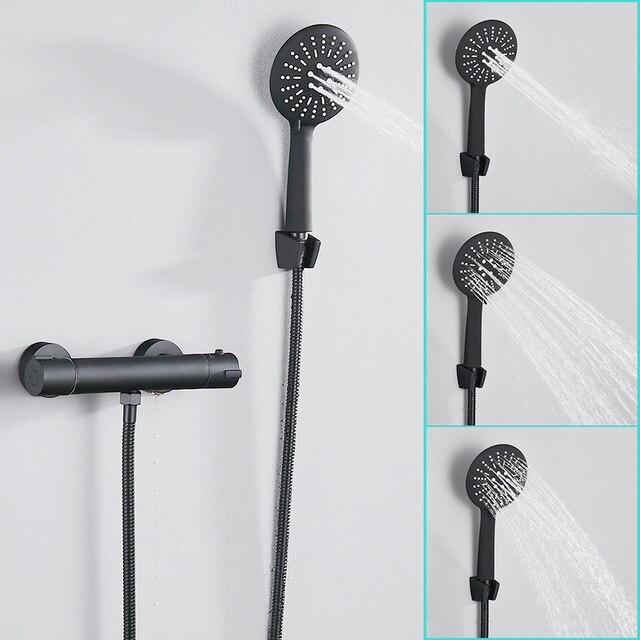 Europa Schwarz Dusche Wasserhahn Set Bad Kupfer Bad Thermostat Armaturen mit Hand Dusche Kopf Badewanne Mixer