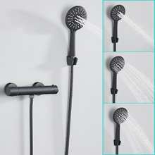 Europe Black Shower Faucet Set Bathroom Copper Bath Room Thermostatic Faucets with Hand Shower Head Bathtub Mixer