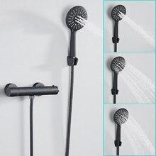 Europe noir robinet de douche ensemble salle de bain cuivre salle de bain robinets thermostatiques avec main douche tête baignoire mélangeur