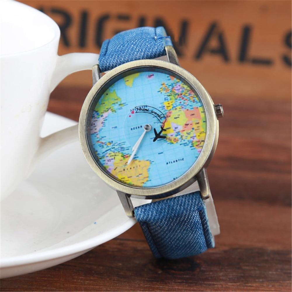 Ladies Watch World Map Quartz Watch Men Map Airplane Travel Around The World Women Leather Dress Wrist Watches