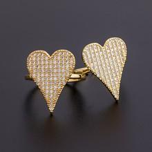 2020 Dropshipping 6 style śliczne Love Heart Dangle Rings dla kobiet złoty kolor miedź cyrkon regulowany Wedding Party pierścień biżuteria