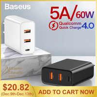 Baseus 60 W ładowarka USB szybkie ładowanie 3.0 USB typu C ładowarka do iPhone 8 X XS PD 5A szybko ładowarka USB do Huawei Samsung S10 S9