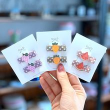 2-6pcs/set Children Hair Accessories Band For Toddler Girls Acrylic Fruit Candy Clip Set  Flower Ties