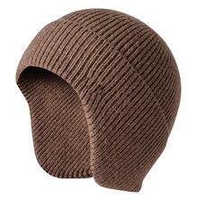 Мужская и Женская Повседневная Рабочая однотонная зимняя теплая вязаная шапка с ушками, мягкая шапка стрейч для студентов, осенняя Лыжная уличная шапка