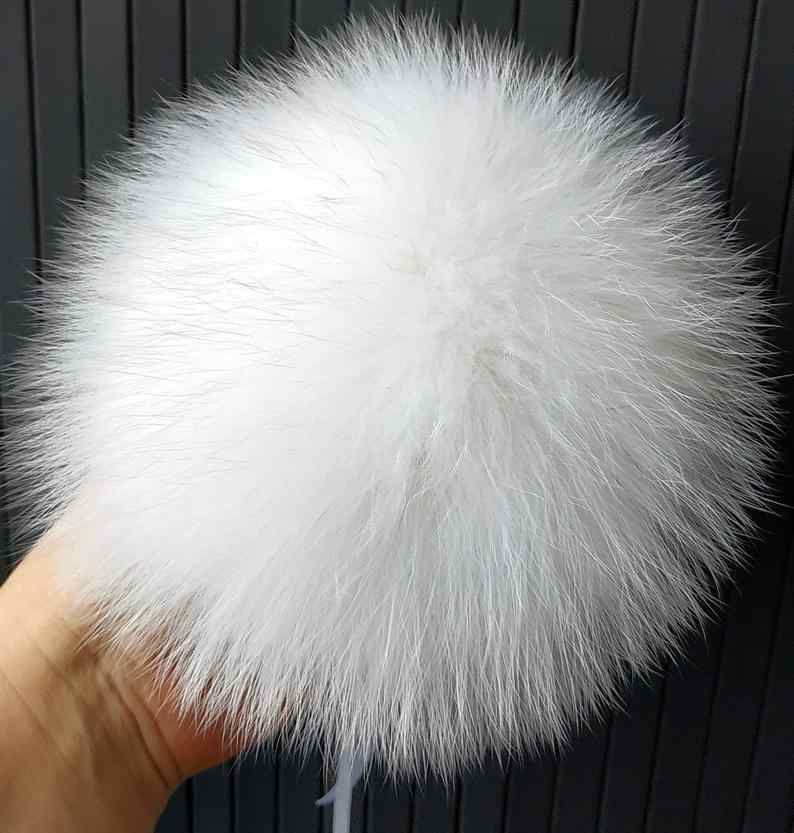 Fluffy Fox Fur Pompoms with Button 12- 15cm DIY Fox Fur Mulit colored Natural Fur Pompom For Scarves Hats Bags Accessories