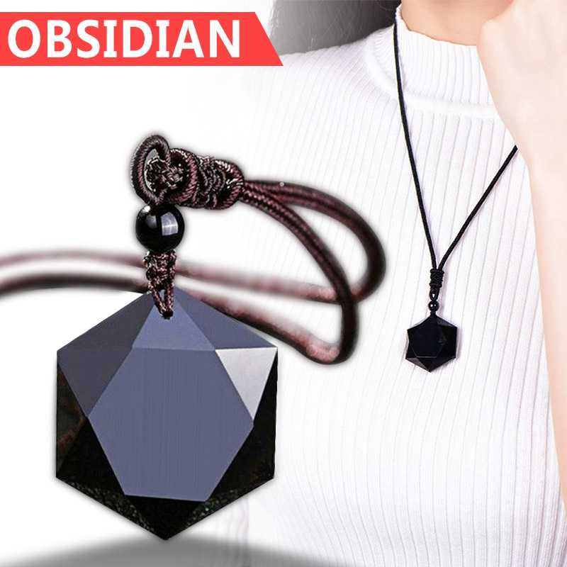 سحر النساء الرجال قلادة الأسود حجر مصنوع من الزجاج البركاني قلادة مجوهرات سترة سلسلة الحلي Fanmade أنيقة قلادة هدية للجنسين