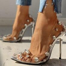SARAIRIS 2020 big size 42 brand Design Pointed Toe Woman Pumps transparent crystals Slip On Sexy thi