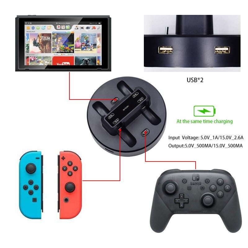 4 + 2 зарядное устройство портативное зарядное устройство док-станция для Nintendo Switch консоль Type-C зарядное устройство для Switch Joy Con Nintendo Switch гейм...