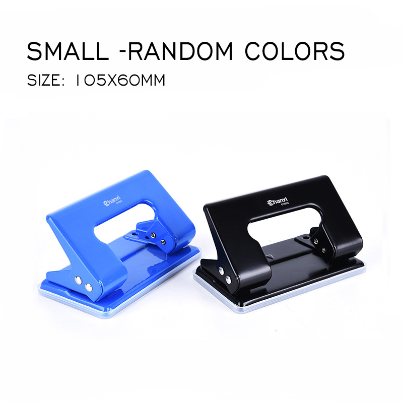 Double Hole Puncher 3SizeRandom Colors Office Supplies Small Manual Stationery Paper Puncher Circular Hole Two Holes