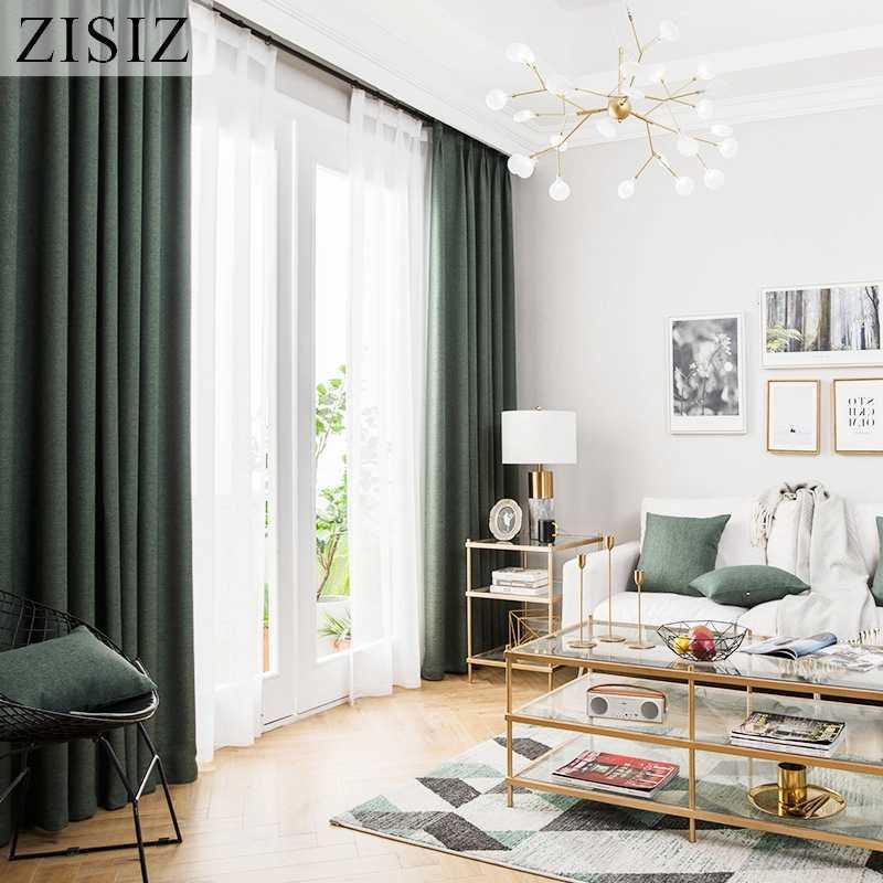 ZISIZ rideaux occultants modernes en Faux lin | Pour salon chambre à coucher, rideaux thermiques isolés couleur unie, stores de fenêtre, rideaux