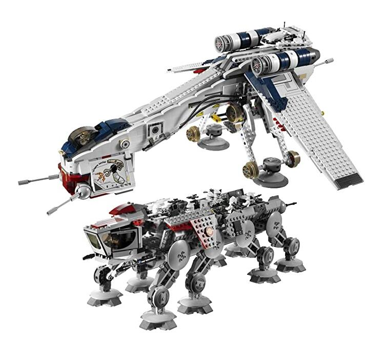 05053 Star Wars Republic Dropship with AT-OT Walker Set Building Blocks Bricks Compatible <font><b>10195</b></font> Toys image