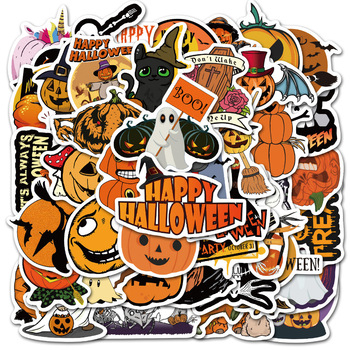 50 pcs/Pack Pumpkin head for Halloween Stickers Car Phone Travel Luggage Trolley Laptop Computer Sticker Toy image