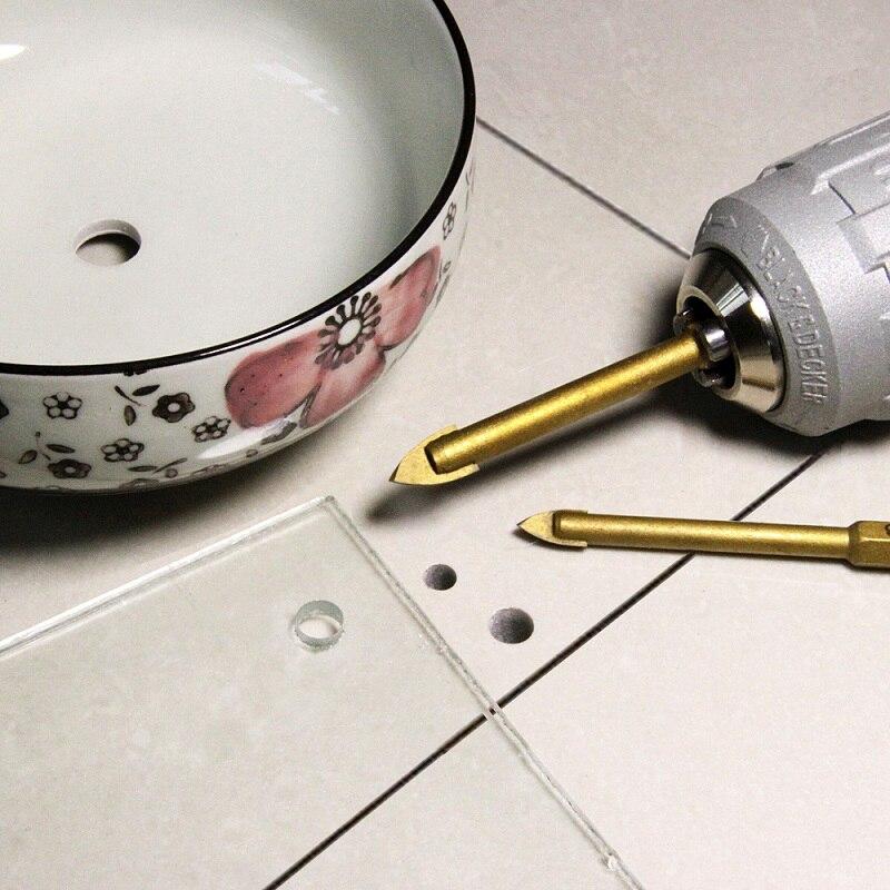 TASP-jeu de mèches en verre, 5 pièces, fraise à pointe en carbure, céramique, 1/4 pouces, tige hexagonale, 3/4/6/8/10mm, accessoires pour outils électriques