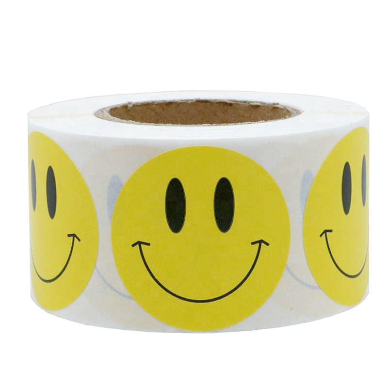 """NEW 1/"""" Yellow Smiley Face Circle Stickers1,000 Happy Dot Labels per Dispenser"""