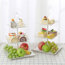 3 Tier Fruit Dessert Tray Cake Stand Tower Square Candy Pan Tea Kitchen Tools for Wedding Party Decor #
