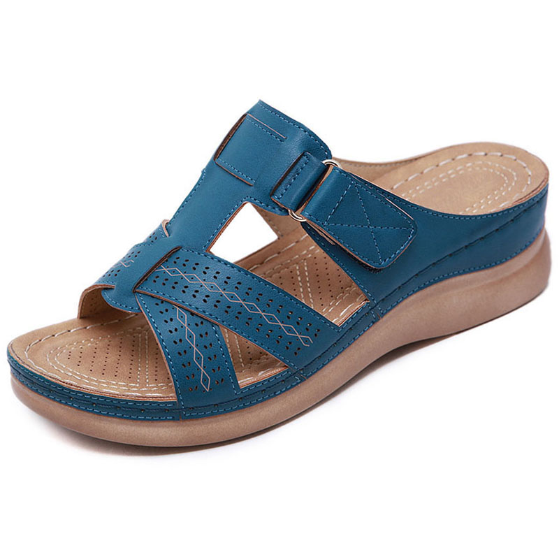 2021 Summer Women Wedge Sandals Premium Orthopedic Open Toe Sandals Vintage Anti-slip Leather Casual Female Platform Retro Shoes 1