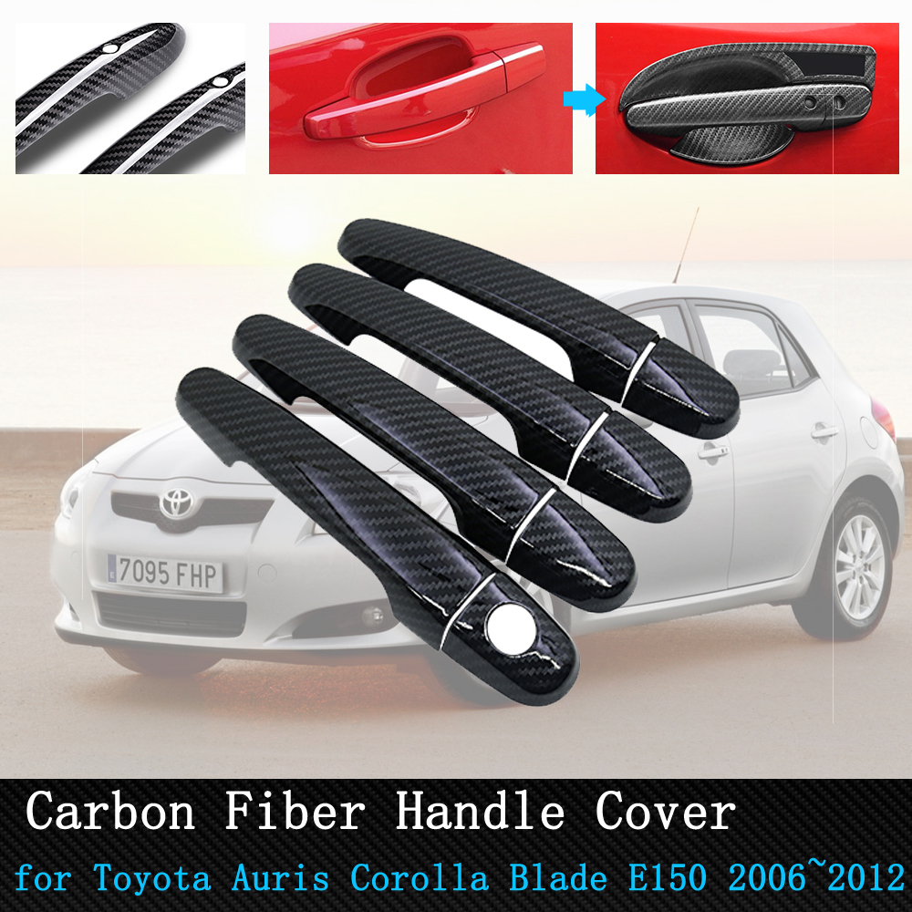 for <font><b>Toyota</b></font> Auris <font><b>Corolla</b></font> Blade <font><b>E150</b></font> 2006~2012 Black Carbon Fiber Door Handle Cover Trim Car Accessories 2007 2008 2009 2010 2011 image