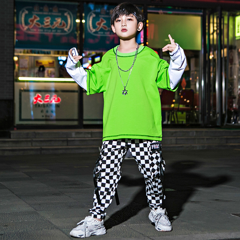 Stitching Hip Hop Dance Costumes For Boys Street Dance Practice Wear Stage Rave Outfits Kids Jazz Performance Clothing DC3784