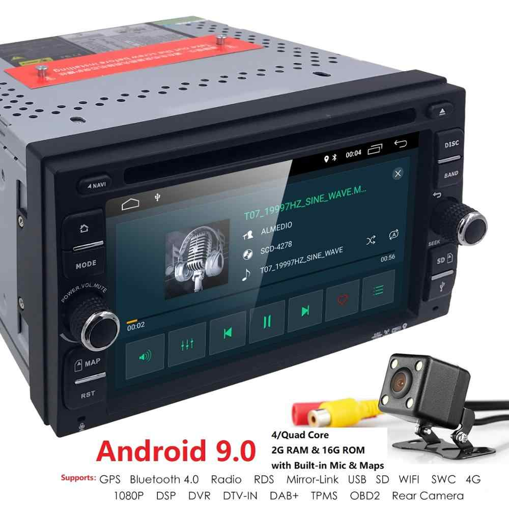 Dois Din Android9.0 Car Stereo Car DVD Player Rádio GPS Wifi OBD2 DAB TV Navi Bluetooth Car Multimedia Player para universal de áudio