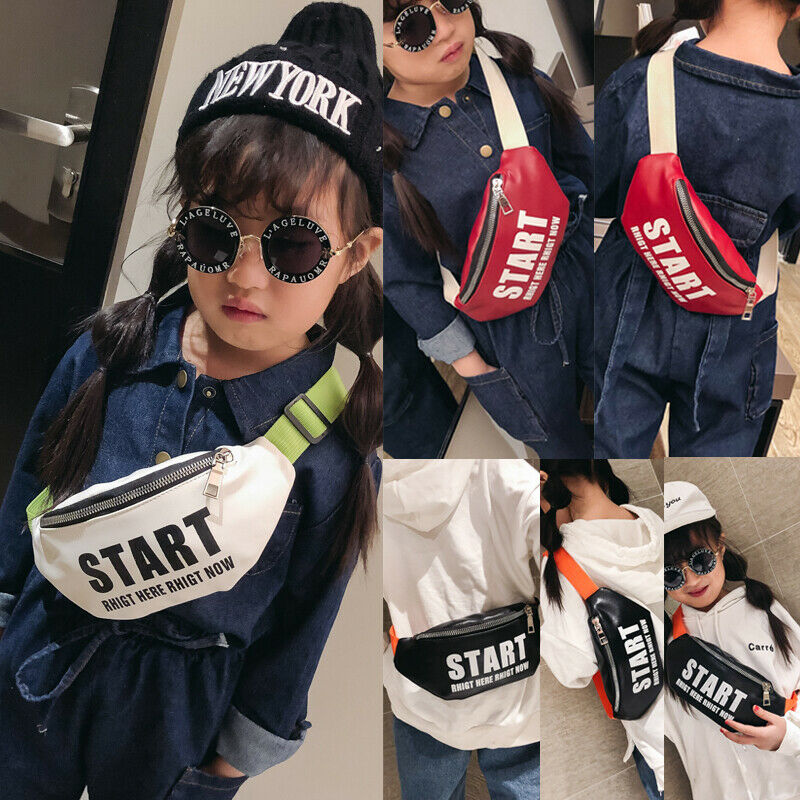 2019 New Fashion Children Boy Girl Waist Bag Letter Print Zipper Casual Sports Travel Chest Bag