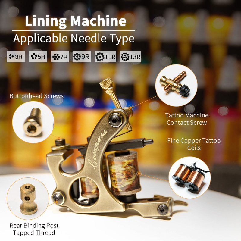 Free Shipping 2 Pcs Pure Copper Tattoo Guns 10 Wraps Liner And Shader Top Quality  Machine Set