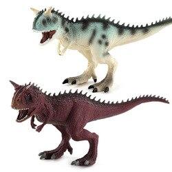 Grande Mundo Jurassic Park Dinossauros Carnotaurus Brinquedo Macio PVC Figuras Pintadas À Mão Modelo Animal Brinquedos para Crianças Caçoa o Presente de Natal