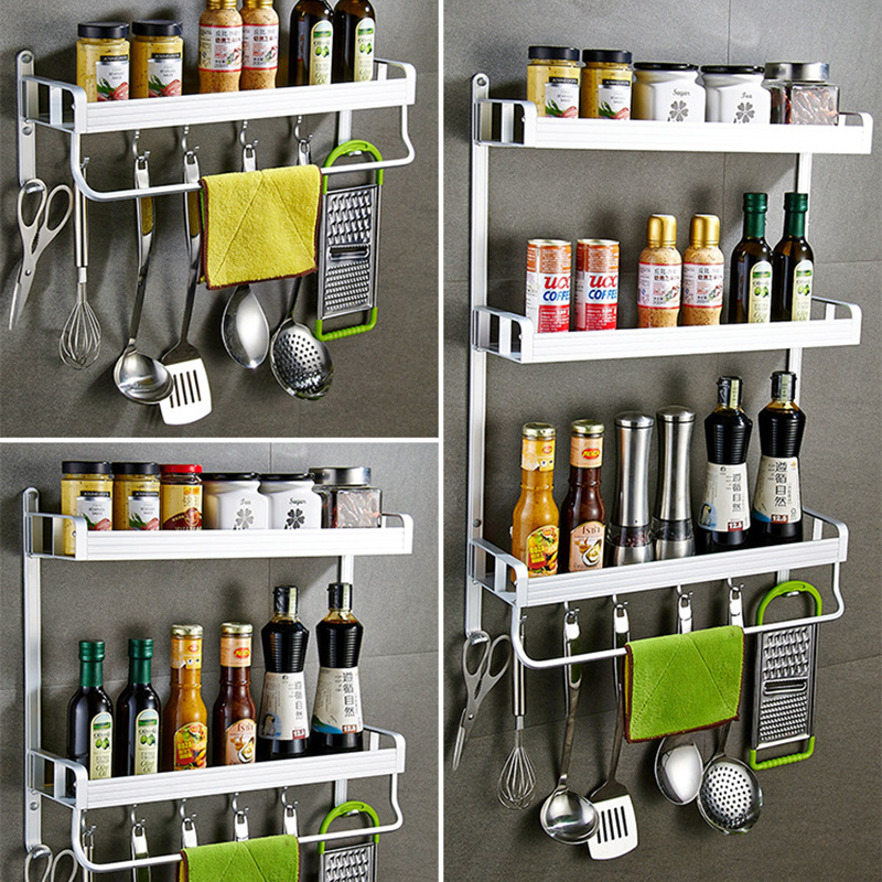 Hole-Punched Kitchen Shelves Three Layer Spice Rack With Towel Bar Multilayer Storage Rack With Hook Wall Hangers No Rust