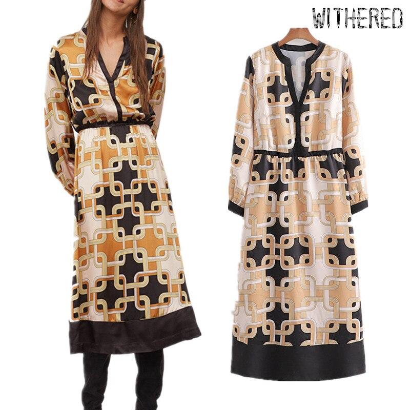 Withered Engand Vintage Court Chain Printing Party Dress Women Loose Vestidos De Fiesta De Noche Vestido Maxi Dress Women Blazer