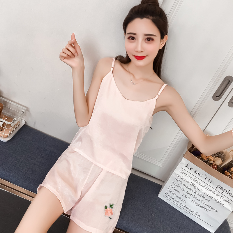 Summer Model Silk Spaghetti Strap Pajamas WOMEN'S Short-sleeved Clothes Shorts Thin Lace Tracksuit Women's Two-Piece Set Large S