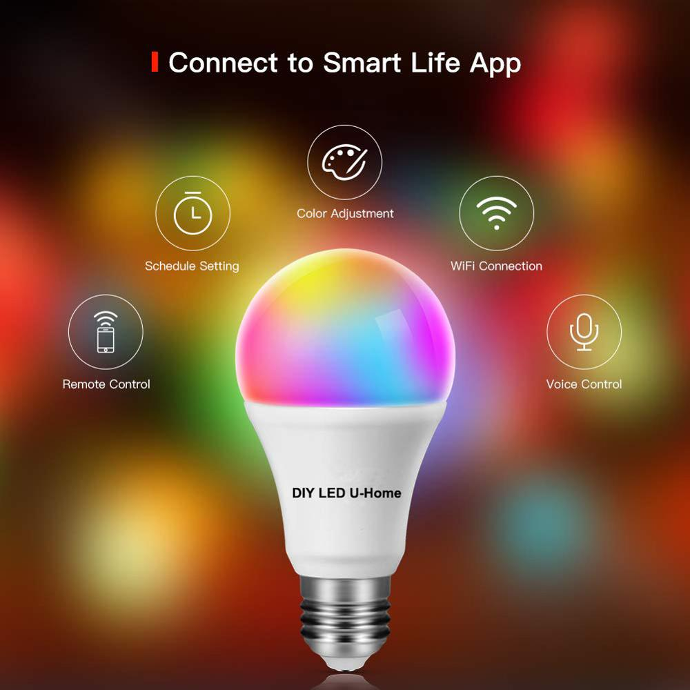 Amazon Alexa Google Home Voice Control Smart WiFi E27 7.5W RGBCW Dimmable LED Bulbs Smartphone Controlled LED Lamp Night Light